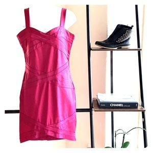 H&M Fuschia Pink Bandage Bodycon Dress Size 14